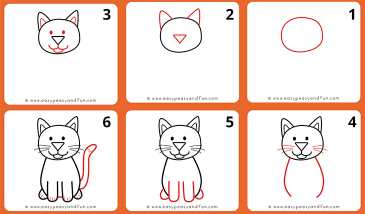 איך לצייר חיות: איך מציירים חתול