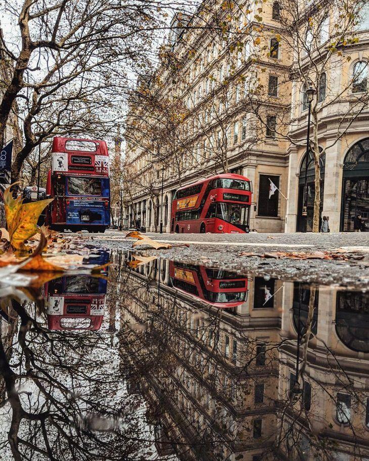 תמונות של השתקפויות במים מערים בעולם: לונדון, אנגליה