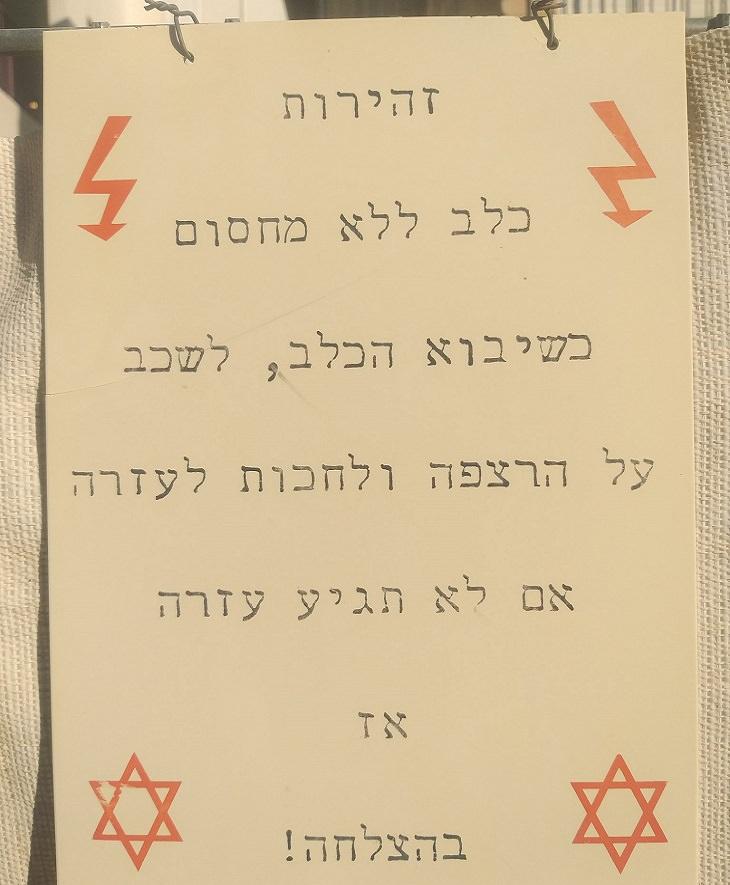 שלטים מצחיקים: שלט אזהרה מצחיק מכלב ללא רצועה