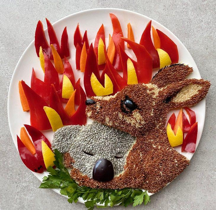 לשחק עם האוכל: קנגרו וקואלה בהשראת שריפות הענק באוסטרליה