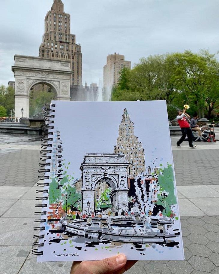 ציורים של ניו יורק: ציור של פארק כיכר וושינגטון