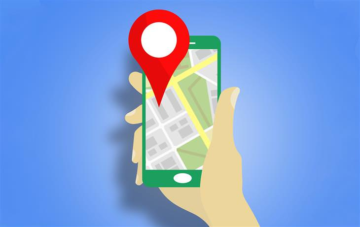 טיפים לשימוש בגוגל מפס: איור של יד מחזיקה סמארטפון עם אפליקציית ניווט