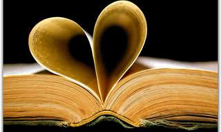 אוסף כתבות ציטוטים: דפי ספר פתח יוצרים צורת לב