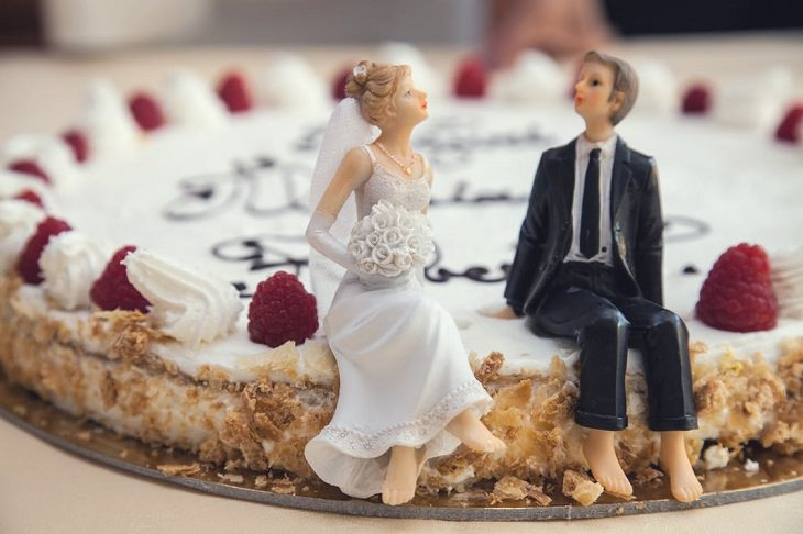 מחקרים אודות נישואין: עוגה של חתונה שעליה בובות של חתן וכלה