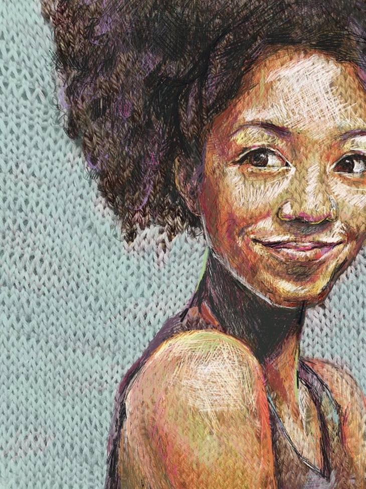 יצירות סריגה דיגיטלית: פורטרט סרוג של אישה מתולתלת