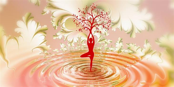 עצות מנזיר כיצד להשלים עם מחשבות מעיקות: איור של אישה על רגל אחת וידיה הופכות לעץ