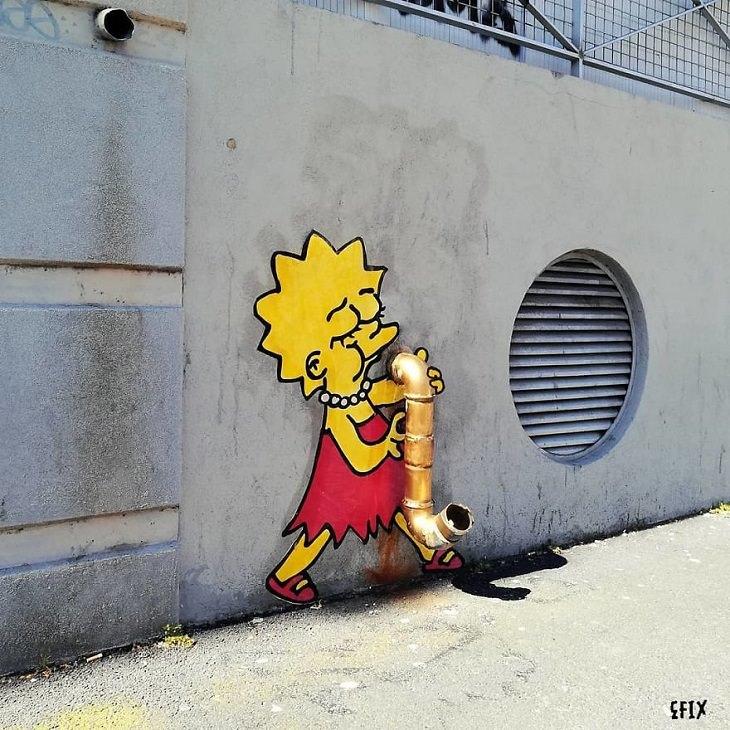 אמנות רחוב של דמויות מצוירות מפורסמות: ליסה סימפסון מנגנת על סקסופון