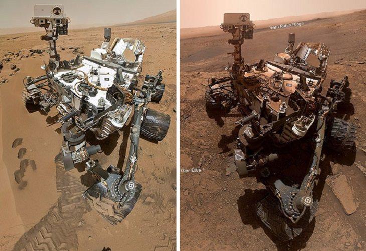 תמונות ממאדים: הרובר קיורוסיטי כפי שנראה לפני 7 שנים (משמאל) וכפי שנראה כיום (מימין)