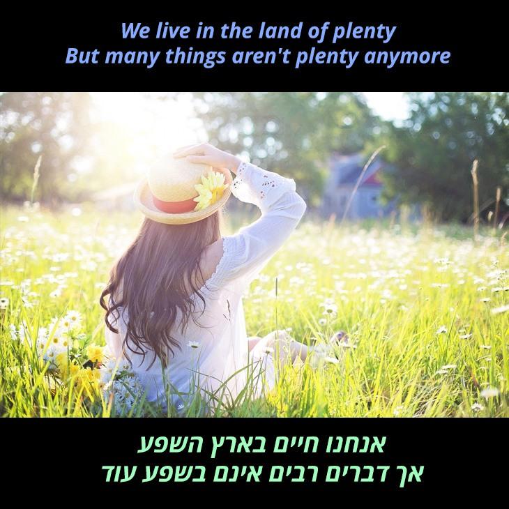 תרגום לשיר Pass it on down: אנחנו חיים בארץ השפע אך דברים רבים אינם בשפע עוד