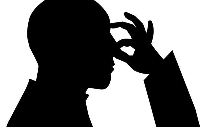 חידון פוליטי: איור של צללית אדם אוטם את אפו באצבעותיו