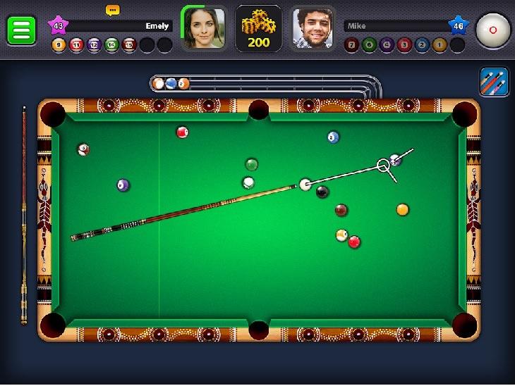 אפליקציות משחקים: איור מתוך משחק 8 ball pool