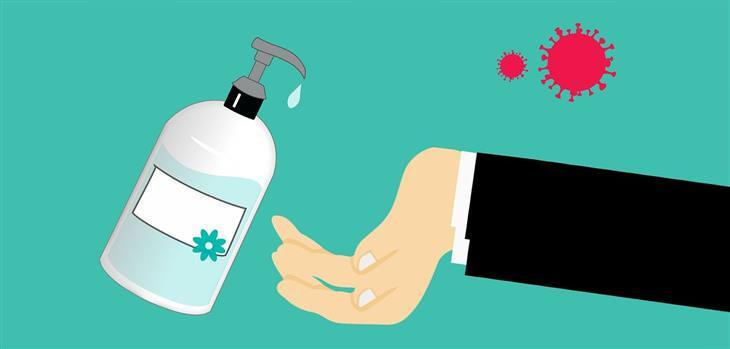 איך להכין ג'ל אלכוהול: איור של יד וג'ל לחיטוי ידיים