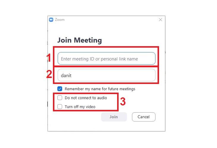 תוכנת זום: מסך הצטרפות לשיחה