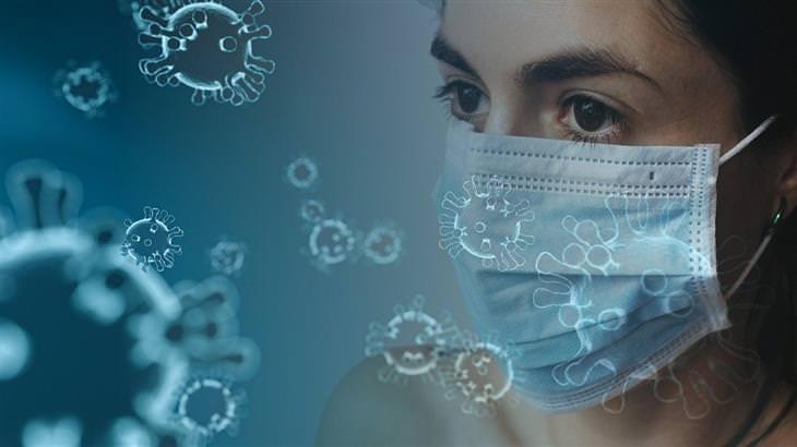 כמה זמן שורד קורונה ואיך להתגונן מפניו: אישה במסכה כירורגית וסביבה איורים של נגיפים