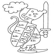 דפי צביעה ללימוד חשבון: דף צביעה עכבר אביר