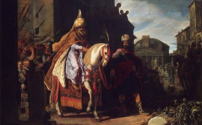 חידון על פורים: ציור של מרדכי יוצא רכוב על סוס מהארמון