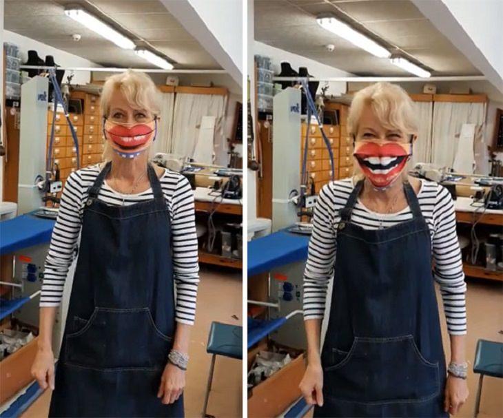 מסכות פנים מעוצבות: מסכת פנים עם ציור של חיוך גדול