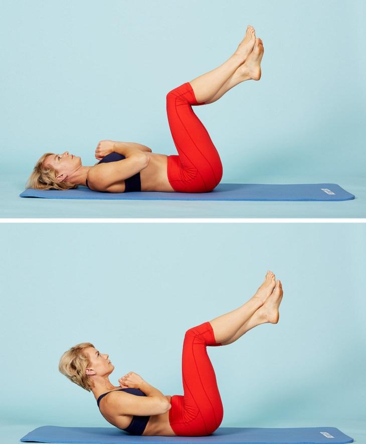תרגילי כושר לחיזוק שרירי הגוף: תרגיל כפיפות בטן עם רגליים באוויר
