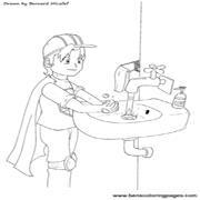 דפי צביעה לילדים על בריאות והייגינה: ילד עם גלימה שוטף ידיים