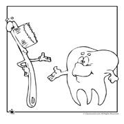 דפי צביעה לילדים על בריאות והייגינה: שן ומברשת שיניים מחייכות