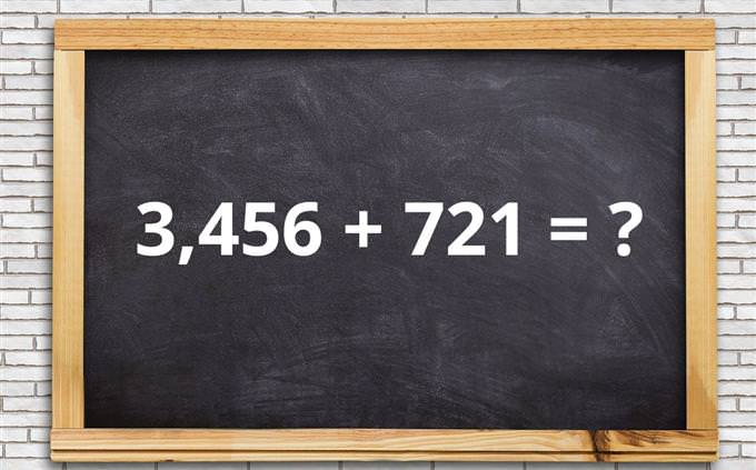 מבחן מתמטיקה: 3,456 + 721 = ?