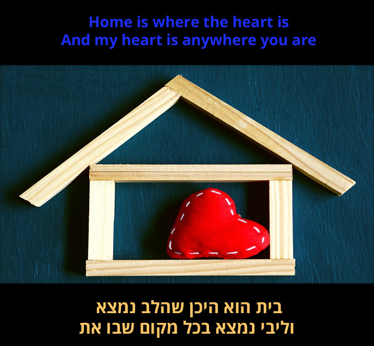 """""""הבית הוא היכן שהלב נמצא"""" - מצגת שיר: """"בית הוא היכן שהלב נמצא וליבי נמצא בכל מקום שבו את"""""""