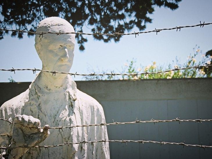 עקרונות הלוגותרפיה: פסל של אדם מאחורי גדרות תיל