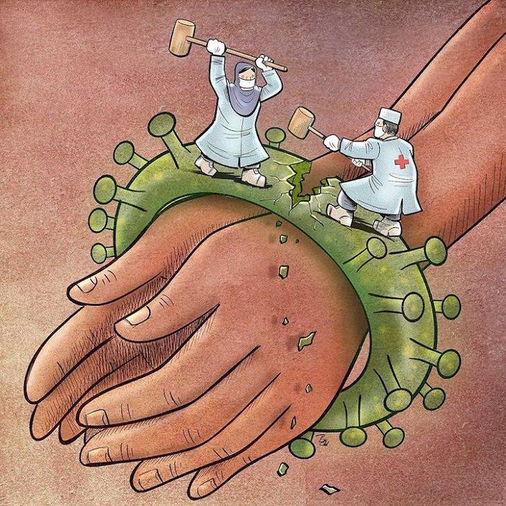 ציורים שמציגים את המאבק הרפואי בקורונה: רופא ואחות מנסים לשבור עם פטיש נגיף קורונה שקושר ידיים