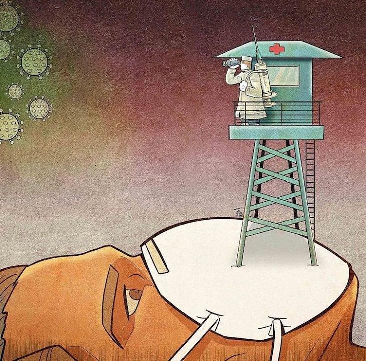 ציורים שמציגים את המאבק הרפואי בקורונה: רופא עומד על מגדל שמירה שהוקם על מסכה של חולה