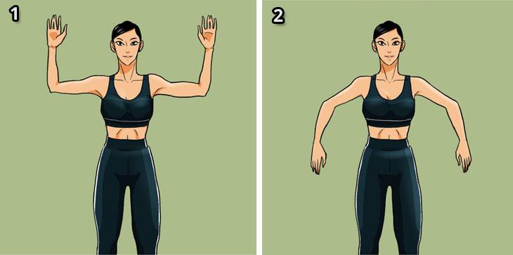 תרגילי כושר ביתיים מול הטלוויזיה: אישה מבצעת את תרגיל הורדת והרמת כפות הידיים