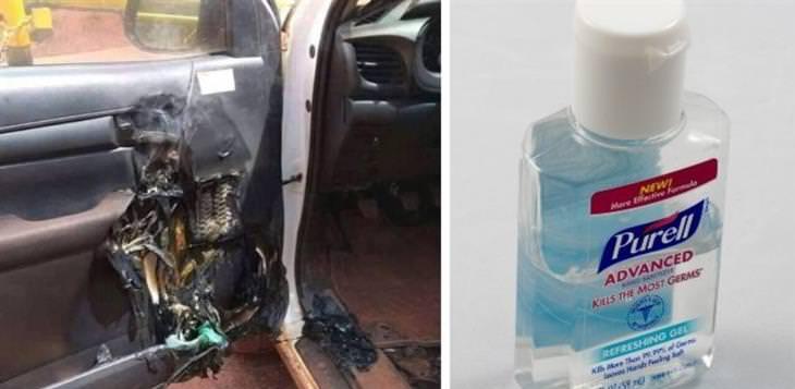 אלכוג'ל בתוך המכונית: אלכוג'ל ומכונית עם דלת הרוסה