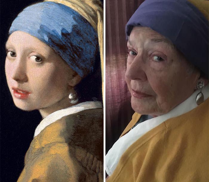 """שחזורי יצירות מפורסמות על ידי בת 83: שחזור של """"נערה עם עגיל עם פנינה"""""""