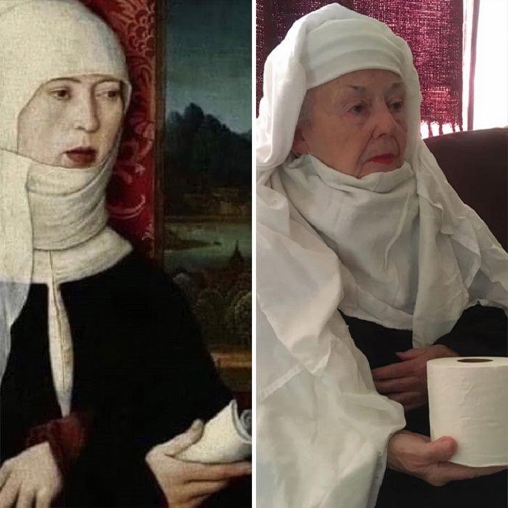 שחזורי יצירות מפורסמות על ידי בת 83: שחזור של ציור נזירה