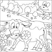 דפי צביעה לשבועות: דף צביעה של פרה באחו