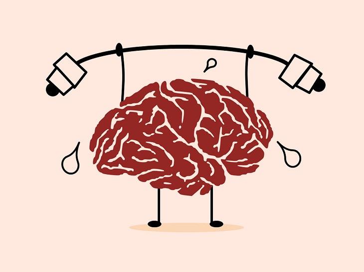 חידות לחידוד המחשבה: איור של מוח מרים משקולות