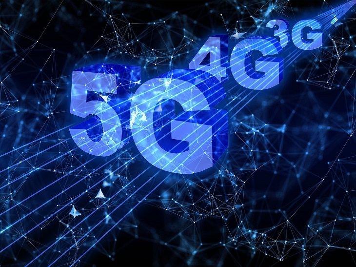טכנולגיית ה-5g: איור של קרני אור היוצרות את מספרי הדורות בסלולר עד 5g
