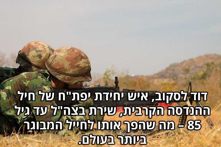 """שיאים ישראלים: דוד לסקוב, איש יחידת יפת""""ח של חיל ההנדסה הקרבית, שירת בצה""""ל עד גיל 85 – מה שהפך אותו לחייל המבוגר ביותר בעולם."""