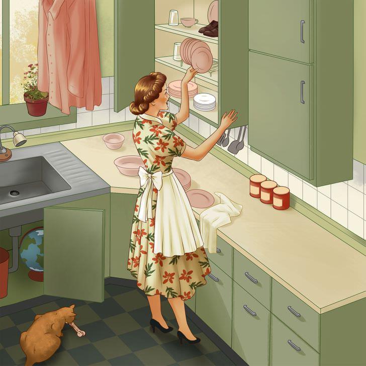 מבחן מציאת טעויות: אישה במטבח