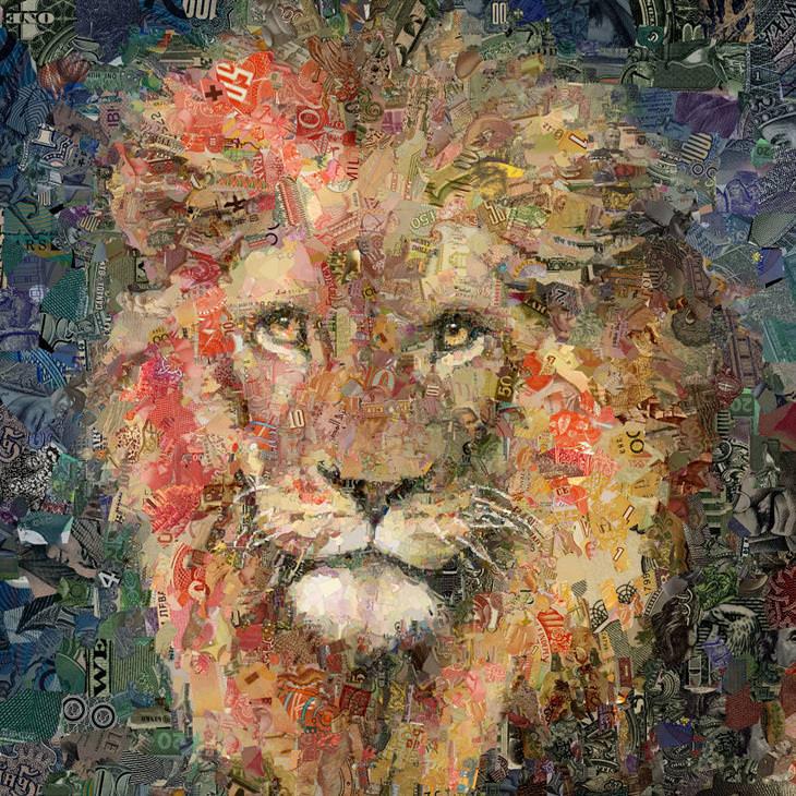 יצירות פסיפס דיגטליות: פסיפס דיגיטלי של אריה מחלקי שטרות כסף
