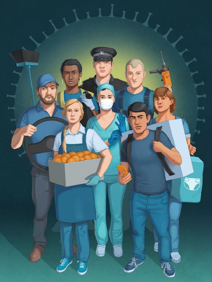 איורים ביקורתיים: שוטר, עובד נקיון, נהג, רופאה, אחות, שיפוצניק, עובדת סופר ושליח, ומאחוריהם ציור של נגיף קורונה