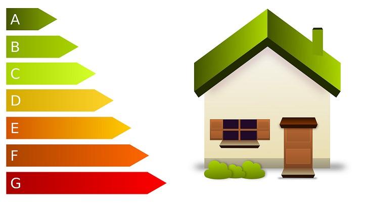 מזגנים: ציור של בית ולידו דירוג אנרגטי מ-A ל-G