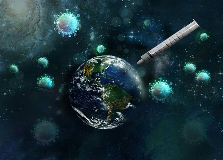 חיסון לקורונה: כדור הארץ, מזרק ווירוסים