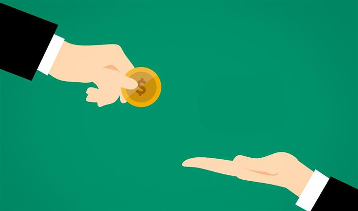 נותנים ולוקחים: איור של יד נותנת מטבע ויד לוקחת