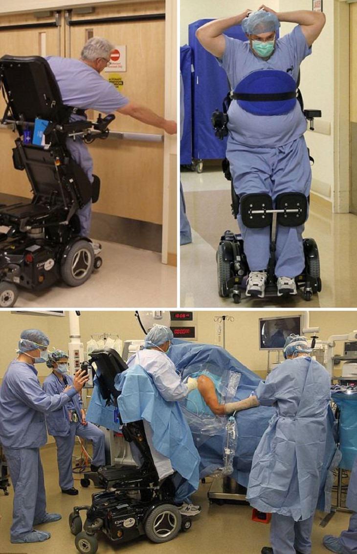 המצאות לאנשים עם מוגבלויות: רופא מנתח עם כיסא גלגלים שמאפשר לו לעמוד ולעבוד