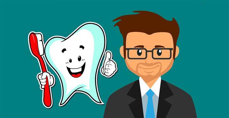 איך לשמור על שיני הילדים: איור של גבר בחליפה לצד שן שמחזיקה מברשת שיניים ומחייכת