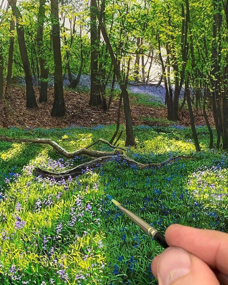 ציורי שמן של נוף כפרי: עצים ביער