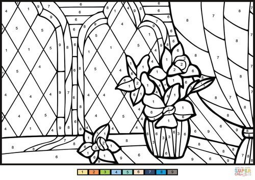 דפי צביעה לפי מספרים: פרחים