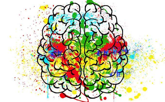 מבחן אישיות: איור של מוח עם כתמי צבע עליו