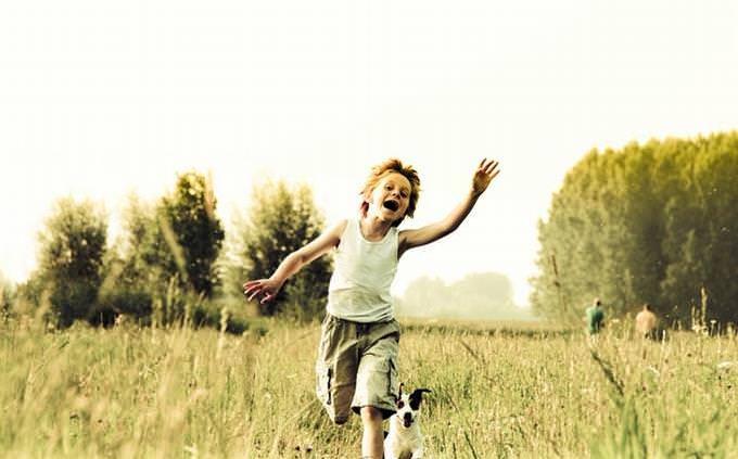בחן את עצמך - תפקידך במשפחה: ילד רץ עם כלבו בשדה