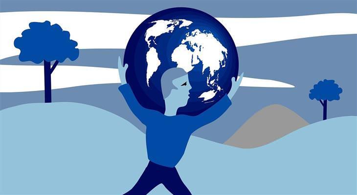 תשישות משבר: איור של איש מחזיק את העולם
